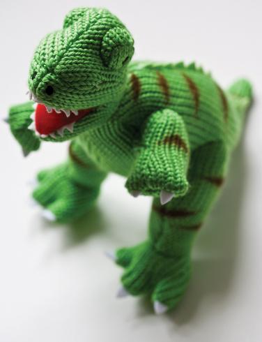 Green knitted dinosaur