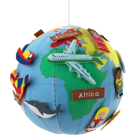 Miniature world globe which hangs from the ceiling