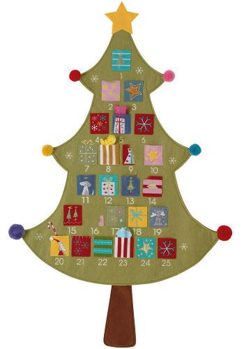 Felt advent calendar in the shape of a Christmas tree