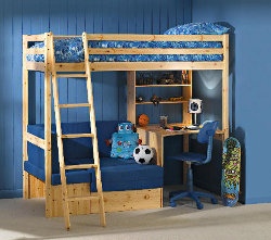 Pine bunk bed with desk underneath