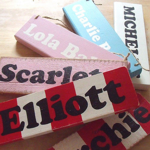 Chunky wooden name signs in a range of colours