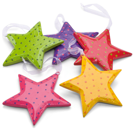 Brightly coloured star shaped tree decorations