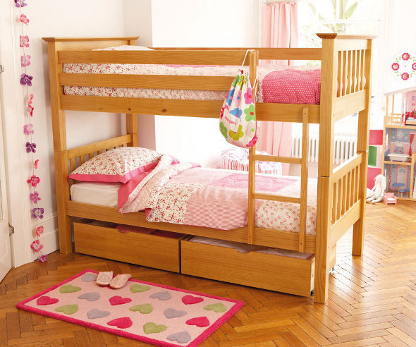 The Anchorage Bunk Bed with a natural wood finish