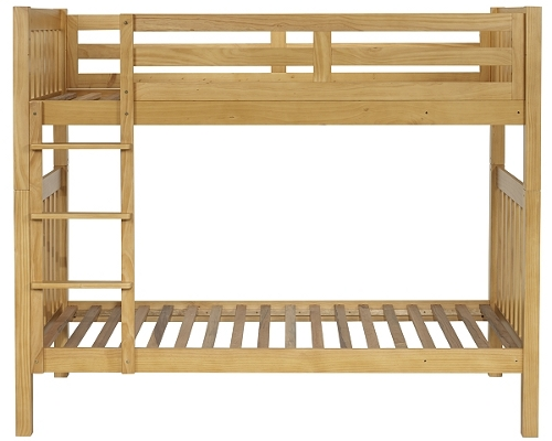 Rubberwood and mdf bunk bed with natural wood finish