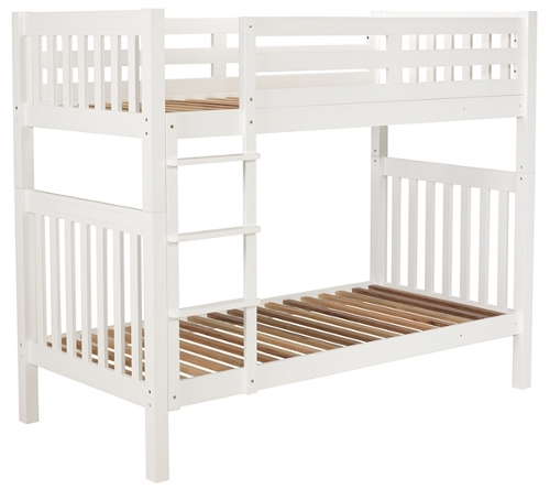 Rubberwood and mdf bunk bed with white finish