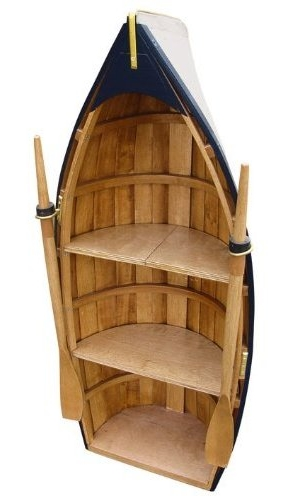 A wooden shelf unit in the shape of a rowing boat