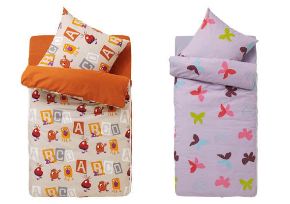 Children's sleeping bags with duvet cover, pillowcase with print motifs