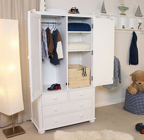 Solid ash children's wardrobe painted white