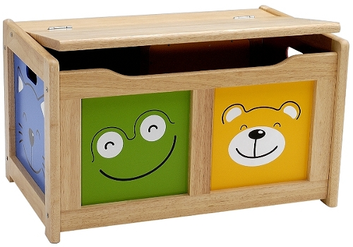 A real wood toy chest with four animal faces beaming out from its front and side panels