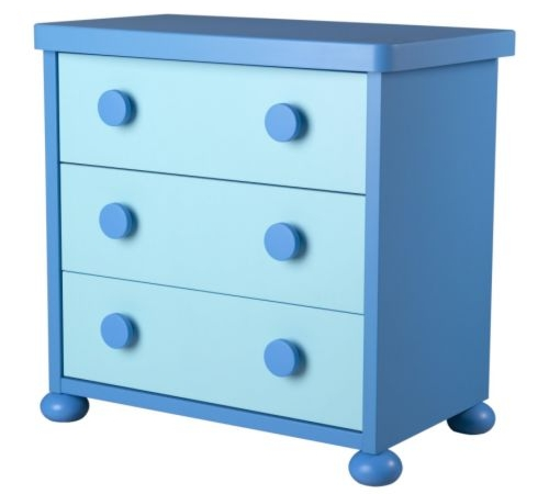 Funky children's drawers in blue with chunky handles