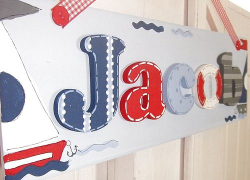 Nautical theme wooden name plaque