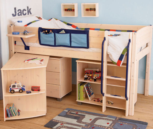 Scandinavian style mid-sleeper bed with combined storage