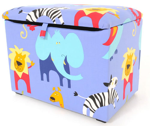 Wooden framed toy box with soft fabric covering