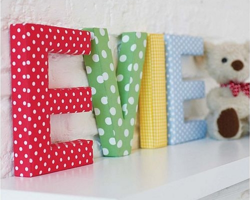 Decorative wall letters in polka and gingham fabrics