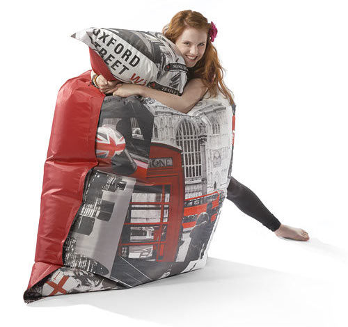 Teenager's bean bag with London scene print