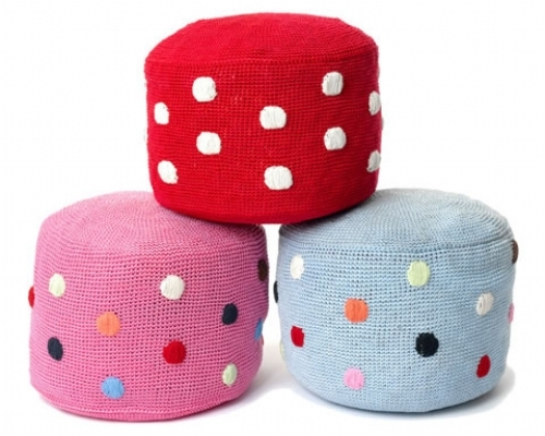 Fairtrade cotton crochet pouf with spotty design