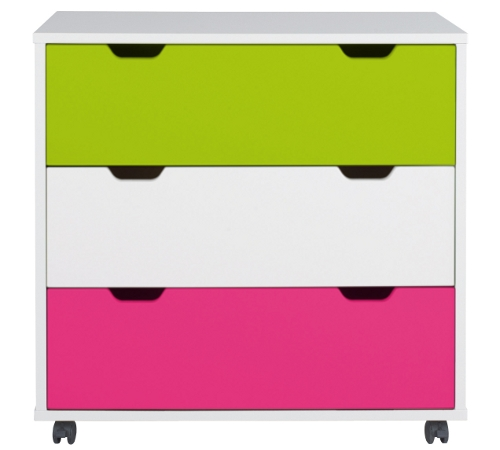 Kid's cabinet with brightly coloured drawer fronts