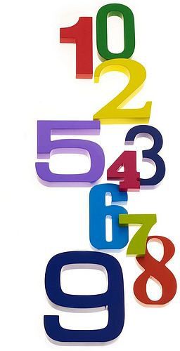 Painted wooden numbers