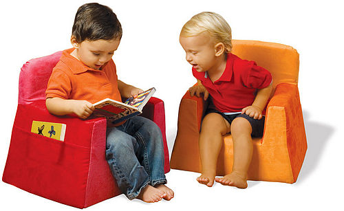 Kid's seating with side pockets for books and stuff