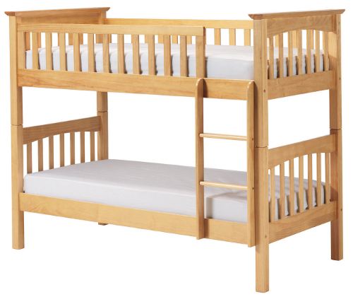 Pine bunk bed with natural finish