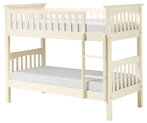 Pine bunk bed painted white