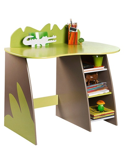 Fun junior desk with animal print and glossy green top