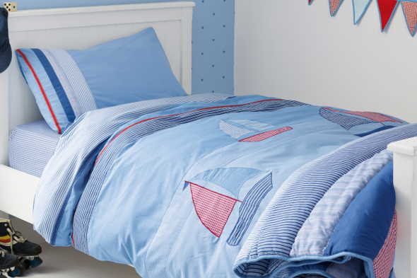 Pale blue nautical themed bedding set with sail boats applique