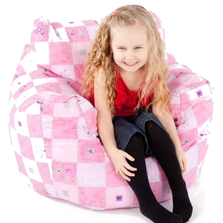 Kid's pink beanbag chair which can be personalised