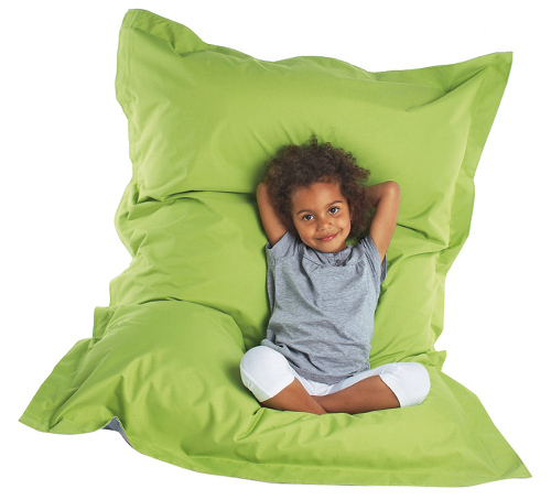 large green child's pouffe style bean bag