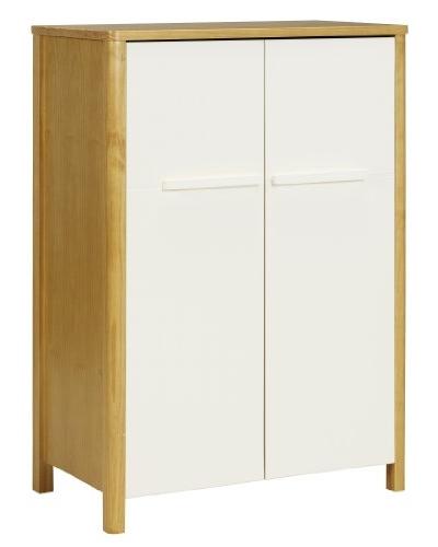 Modern children's wardrobe with wood surround and white doors