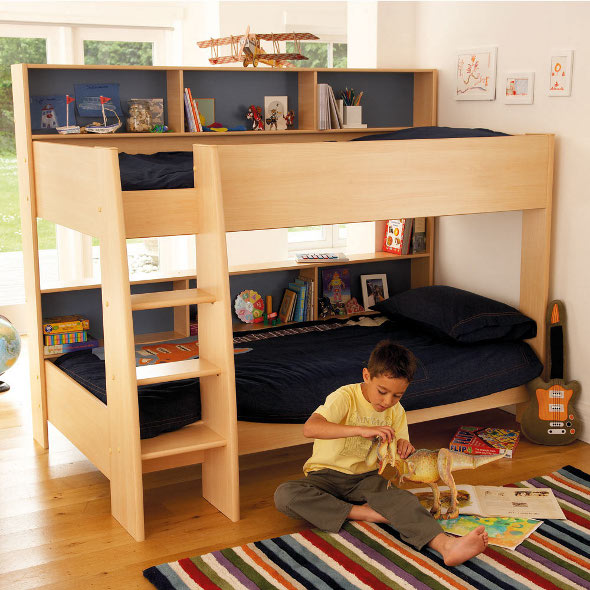 The Vista bunk bed with a natural wood finish