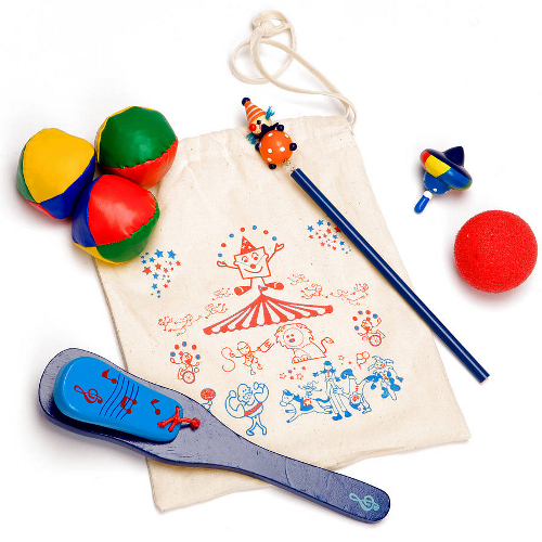 Kid's party bag with circus themed accessories
