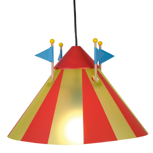 Child's light fitting designed to look like a circus big top