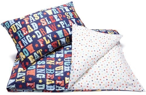 Kid's bedding set in with bold circus style graphics