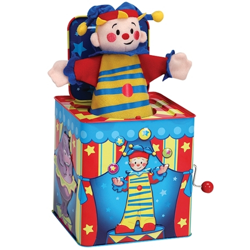 Clown themed jack in the box with winding handle