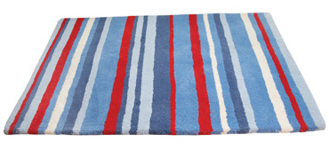 Kid's rug with blue, red and white stripes